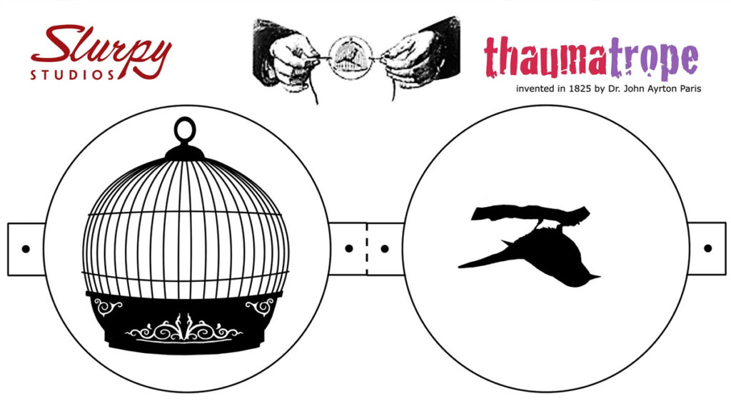 Thaumatrope bird in cage cut-out template created by Slurpy-Studios