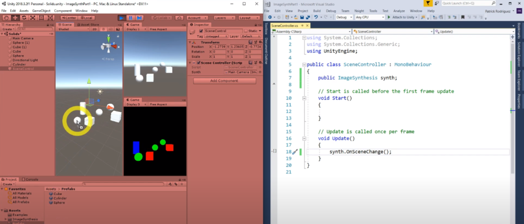 screenshot of VR space and geometry with coding page