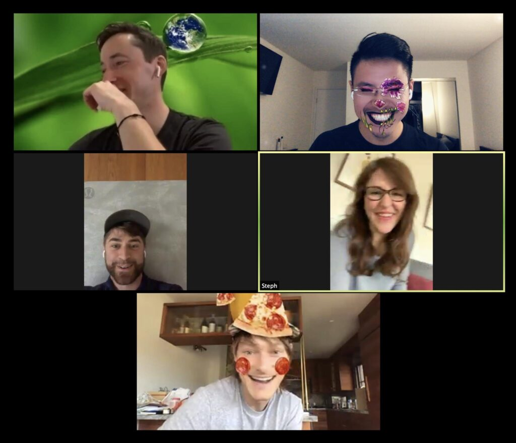 5 blocks of people on a zoom conference call using AR filters, flowery face paint and pizza pieces scattered over head