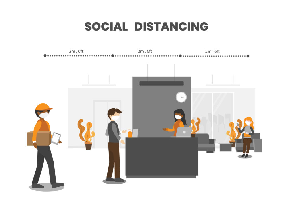 illustration of reception area in office building, with people social distancing and sanitising hands