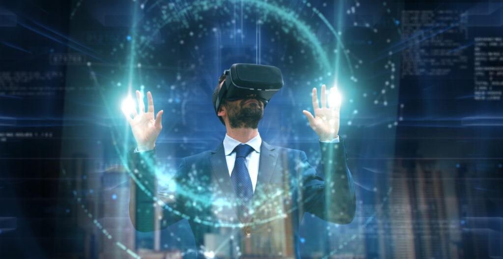 Portrait Of A Businessman Using An Oculus